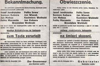 Sondergericht -  German announcement of the execution of 9 Polish peasants for not fulfilling quotas. Signed by the governor of Lublin district on 25 November 1941