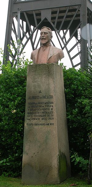 Alberto Palacio - Monument to Palacio in front of his Transporter Bridge