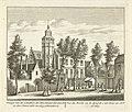Gezicht op de Kloveniersdoelen te Dordrecht waar de Nationale Synode is gehouden in 1618-1619 Gesigt van de Schutters Doelen alwaar het Sinode in den jaare 1618 en 1619 gehouden is Vue du Doele, où le Synode s'est tenu , RP-P-OB-80.852.jpg