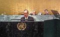 Ghulam Nabi Azad addressing the High-level Meeting of the United Nations General Assembly on Prevention and Control of Non-Communicable Diseases, at New York on September 19, 2011.jpg