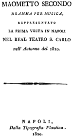 Gioachino Rossini - Maometto II - titlepage of the libretto - Naples 1820.png