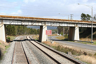 Orbost railway line - The private SECV Morwell Interconnecting Railway bridge crossing the main Gippsland railway and the Princes Drive Exit on the west edge of Morwell