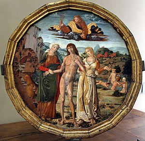 Desco da parto - A less common example from Siena, with the Choice of Hercules by Girolamo di Benvenuto, around 1500