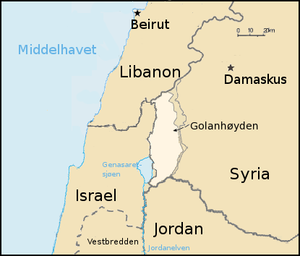 The Golan Heights, map with Norwegian text.