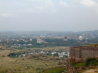 Naya Qila - Panoramic view over the southern side of Naya Qila from the top of the Golkonda.