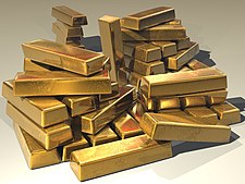 A pile of stacked gold bars