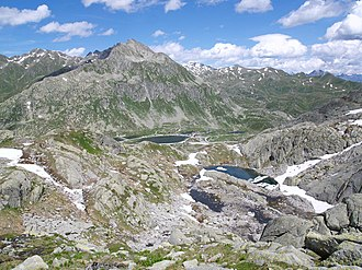 Gotthard Pass - The area of the Gotthard Pass from the west