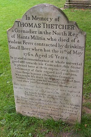 North Hants Militia - A gravestone to Thomas Thetcher of the North Hants Militia at Winchester Cathedral.