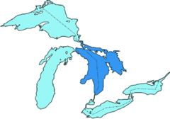 Lake Huron - Map of Lake Huron and the other Great Lakes