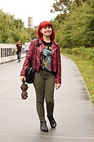 Green Skinny Jeans, Burgundy Faux Leather Jacket, Star Trek Tee, and Black Pointed Boots (22487263131).jpg