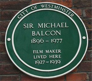 Michael Balcon - Image: Green plaque Michael Balcon