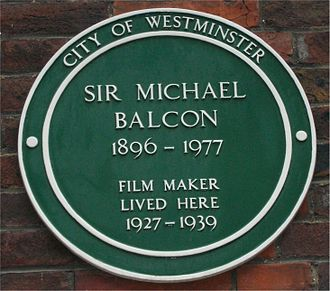 Michael Balcon - Green plaque on Balcon's house in Tufton Street, Westminster