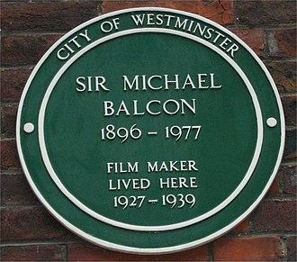 Michael Balcon - Image: Green plaque Michael Balcon