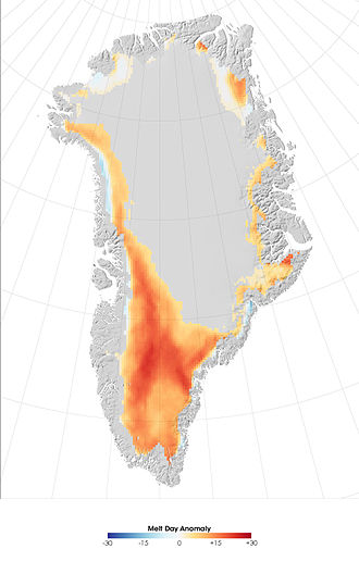 Sea level rise - Greenland 2007 melt anomaly, measured as the difference between the number of days on which melting occurred in 2007 compared to the average annual melting days from 1988–2006
