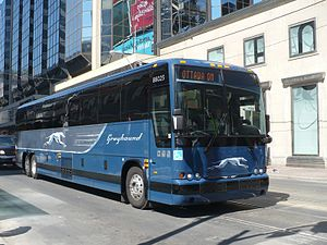 English: Dallas based Greyhound bus in 2009 li...
