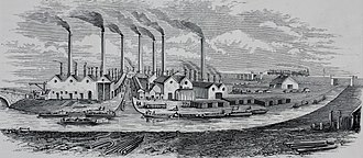 Black Country - The ironworks of W. Barrows and Sons, Tipton. Canals were of crucial importance in the development of Black Country industry.
