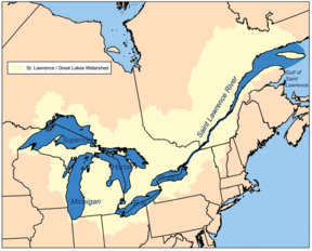 Map of the St. Lawrence/Great Lakes Watershed