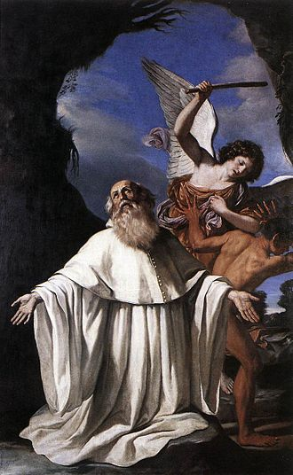 Romuald - In San Romualdo, painted for the Church of San Romualdo, Ravenna, by Guercino, 1641, an angel uses the abbot's baton to chastise an errant figure (Pinatoceca Comunale, Ravenna).