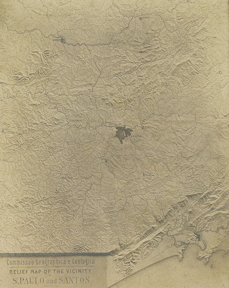 Reprodução de mapa: Relief Map Of The Vicinity Of S. Paulo And Santos, Guilherme Gaensly.