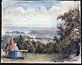 Hönsäter 1845 . Hund och läsande kvinna på bänk, vy över sjö och byggnader - Nordiska museet - NMA.0037523.jpg