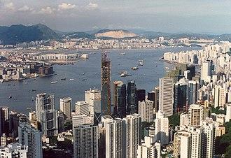 Bank of China (Hong Kong) - The BOCHK Bank of China Building under construction 1988 viewed from the peak