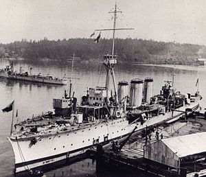 CFB Esquimalt - HMCS ''Aurora'', HMCS ''Patriot'', and HMCS ''Patrician'' at Esquimalt in 1921.