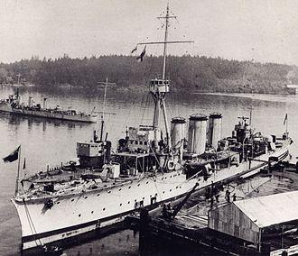 CFB Esquimalt - HMCS Aurora, HMCS Patriot, and HMCS Patrician at Esquimalt in 1921.