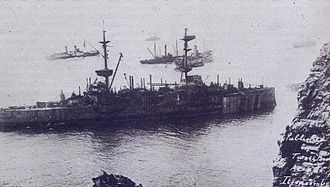 HMS Montagu (1901) - HMS Montagu with many fittings removed during salvage attempts in the summer of 1906.