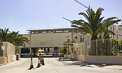 Entrance to HMS Rooke at Queensway, Gibraltar - headquarters of Gibraltar Defense Police.