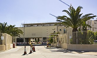 British Forces Gibraltar - Entrance to HMS Rooke at Queensway, Gibraltar - headquarters of Gibraltar Defence Police.