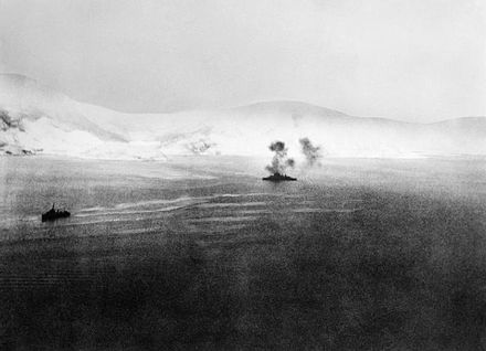 HMS Warspite supporting Allied troops at Narvik. HMS Warspite, Norway 1940.jpg