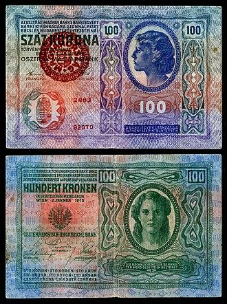 Koloman Moser - Image: HUN 27 Provisional 100 Korona (1920)