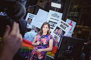 Hallie Jackson - Jackson reporting during an anti-Trump protest at Trump Tower in 2016