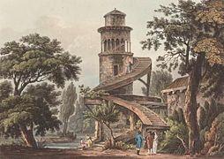 Hameau de la reine - Tour de Marlborough - 1809 - John-Claude Nattes.jpg