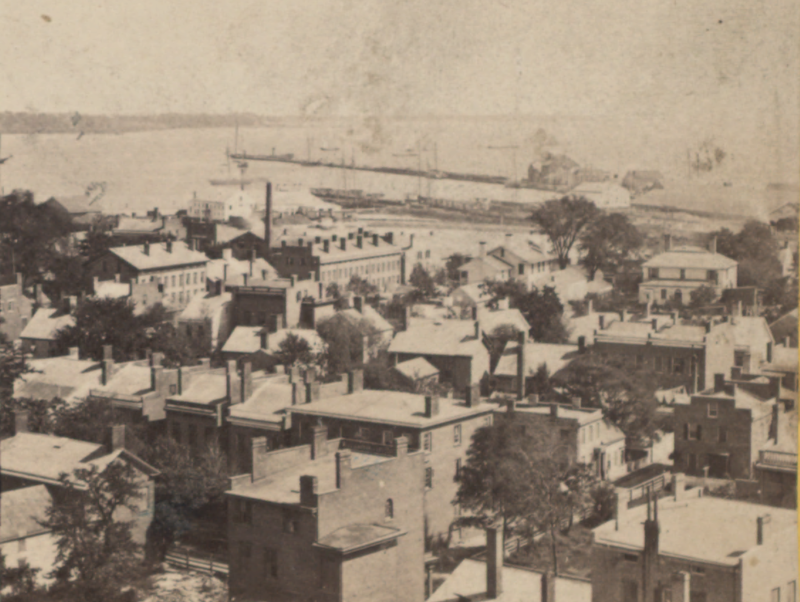 Harbor and long Wharf, from Depot Tower, New Haven, by Whitney, Beckwith %26 Paradice.png
