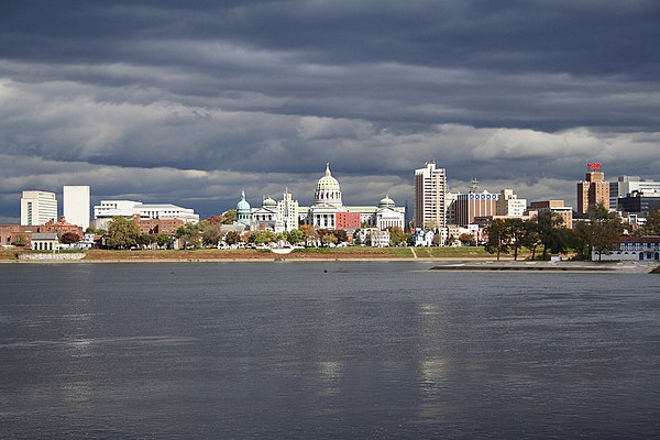 Harrisburg, with the state capitol dome, as viewed from across the Susquehanna River in Wormleysburg Harrisburg, Pennsylvania State Capital Building.jpg