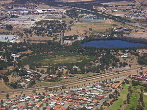 Hazelmere, Western Australia - Hazelmere lakes in foreground, Great Eastern Highway Bypass in upper right