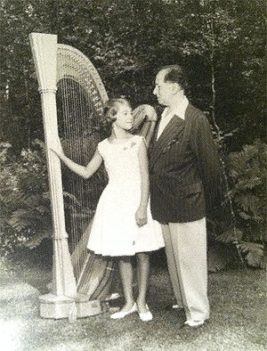 Heidi Lehwalder - Harpist Heidi Lehwalder with Carlos Salzedo in Camden, Maine. 1961.