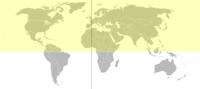 Το βόρειο ημισφαίριο σημειωμένο με κίτρινο