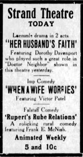 <i>Her Husbands Faith</i> 1916 movie by Lloyd B. Carleton