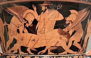 Thanatos - Hypnos (left) and Thanatos (right) carrying dead Sarpedon, while Hermes watches. Inscriptions in ancient Greek read HVPNOS-HERMES-θΑΝΑΤΟS (here written vice versa). Attic red-figured calyx-krater, 515 BC.