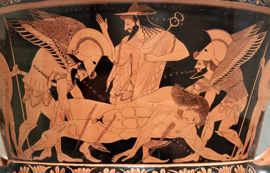 Hermes e Sarpedon