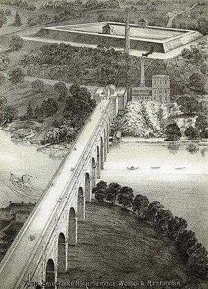 Highbridge Reservoir - An overview from 1871 showing the High Bridge, the High Bridge Water Tower and the Highbridge Reservoir