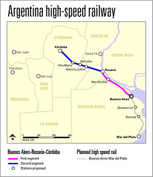 Buenos Aires–Rosario–Córdoba high-speed railway - Image: High speed railway map 4