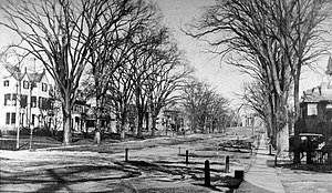 Hillhouse Avenue - The street's mansions were completed by 1871. In this 1905 photograph, Sachem's Wood is still visible