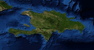 Caribbean island divided between Haiti and the Dominican Republic. Most populous and second-largest island in the West Indies.