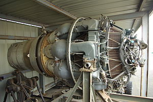 Rolls-Royce RB.44 Tay - A Hispano-Suiza Verdon which powered the Dassault Mystere IV, displayed at the Ailes Anciennes Toulouse.