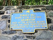 Historical plaque in Sunset Hill, Bronxville, NY, regarding Gramatan and the sale of Eastchester