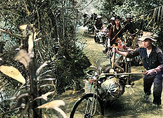 The Ho Chi Minh trail required, on average, four months of rough-terrain travel for combatants from North Vietnam destined for the Southern battlefields. Ho Chi Minh Trail (Colorized).jpg