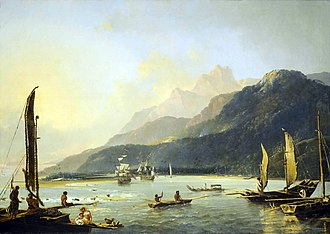 History of Hobart - Resolution and Adventure (pictured here in Matavai Bay, Tahiti, by William Hodges (1776), both visited the Derwent River in the 1770s.